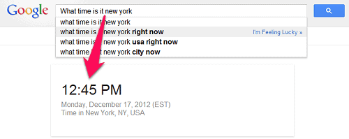 google search time in city